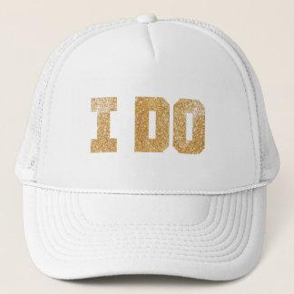 私は金ゴールドの花嫁のバチェロレッテの帽子をします キャップ