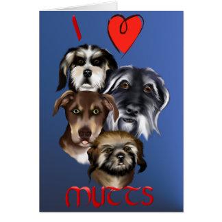 私は雑種犬カードを愛します グリーティングカード