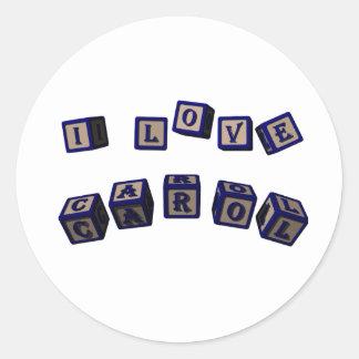 私は青のキャロルのおもちゃのブロックを愛します ラウンドシール