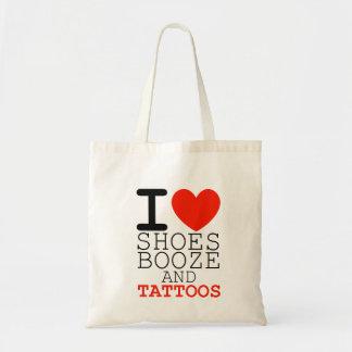 私は靴を大酒を飲みます愛し、入れ墨は女性のショッピングを袋に入れます トートバッグ