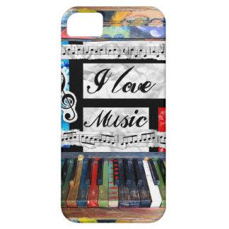 私は音楽音符のピアノ鍵の電話箱を愛します iPhone SE/5/5s ケース
