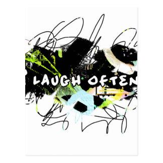私は頻繁に笑います。  爽快。Happy.Tellが世界あって下さい ポストカード