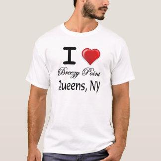 私は風がそよぐポイント女王NYのレリーフ、浮き彫りのワイシャツを愛します Tシャツ