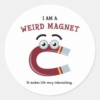 私は風変わりな磁石の円形のステッカーです ラウンドシール