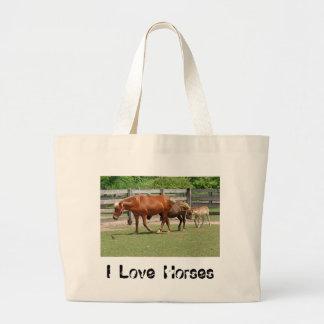 私は馬のトートバックを愛します ラージトートバッグ