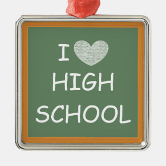 私は高等学校を愛します シルバーカラー正方形オーナメント