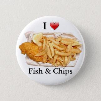 私は魚および破片を愛します 5.7CM 丸型バッジ