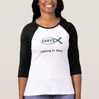 私は魚の記号を用いるイエス・キリストの女性のTシャツに属します Tシャツ