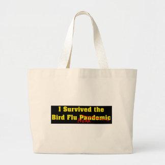 私は鳥インフルエンザ流行病の悪ふざけを生き延びました ラージトートバッグ