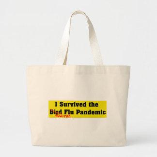 私は鳥インフルエンザ流行病を生き延びました ラージトートバッグ