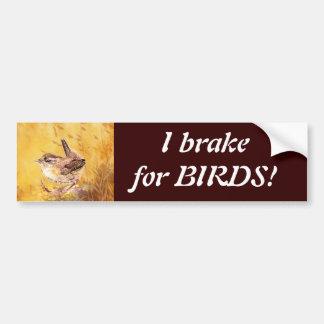 私は鳥-かわいいミソサザイの芸術の野鳥観察のためにブレーキがかかります バンパーステッカー