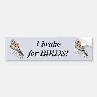 私は鳥-野鳥観察のKestrelの水彩画のためにブレーキがかかります バンパーステッカー
