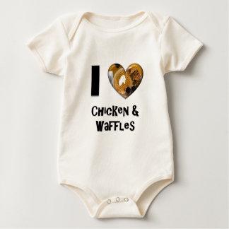 私は鶏およびワッフルを愛します ベビーボディスーツ