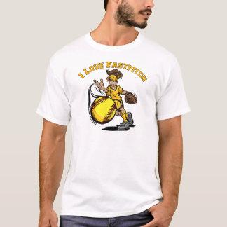 私は黄色いFastpitchを愛します Tシャツ