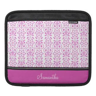 私は黒いピンクのダマスク織パターン名前をカスタムするにパッドを入れます iPadスリーブ