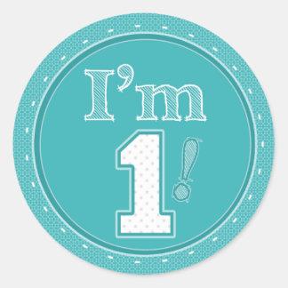 私は1つのティール(緑がかった色)の誕生日のステッカーです ラウンドシール