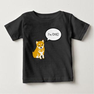 私は1つの柴犬のスピーチの泡2黒いベビーのティーです ベビーTシャツ