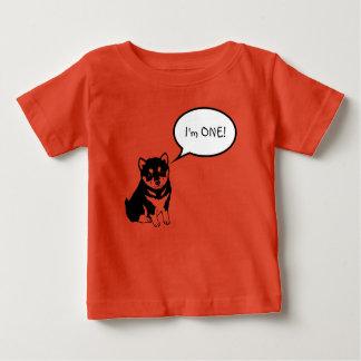 私は1つの犬のスピーチの泡2オレンジのベビーのティーです ベビーTシャツ