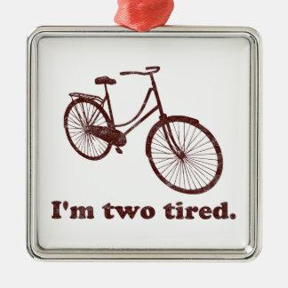 私は2疲れた余りに疲れた眠い自転車です メタルオーナメント