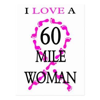 私は60マイルの女性のピンクのリボンの足を愛します ポストカード