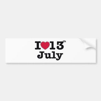 私は7月を13日愛します バンパーステッカー