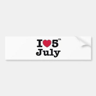 私は7月を5日私のbirtday愛します バンパーステッカー