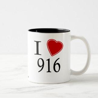 私は916サクラメントを愛します ツートーンマグカップ