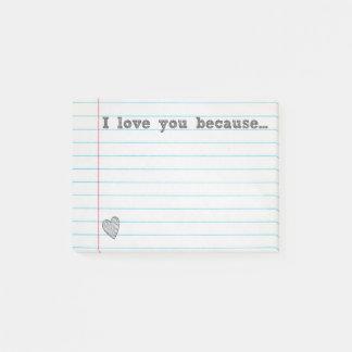 """""""私は…""""ので愛します 空白のなノートを記入して下さい ポストイット"""