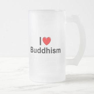 私は(ハートの)仏教を愛します フロストグラスビールジョッキ