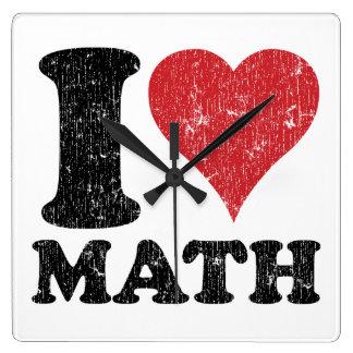 私は(ハートの)数学の時計を愛します スクエア壁時計