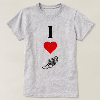 私は(ハートの)陸上競技のHermesによって飛ぶ足を愛します Tシャツ