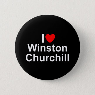 私は(ハート)ウィンストン・チャーチルを愛します 5.7CM 丸型バッジ