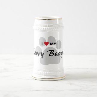 私は(ハート)ケリーの私のビーグル犬Pawprintを愛します ビールジョッキ