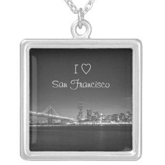 私は(ハート)サンフランシスコのネックレスを愛します シルバープレートネックレス