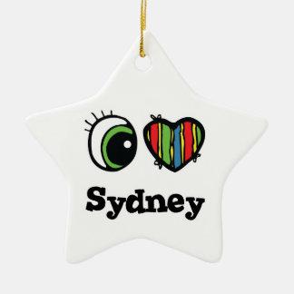 私は(ハート)シドニーを愛します セラミックオーナメント