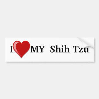 私は(ハート)シーズー(犬)のTzu私の犬を愛します バンパーステッカー