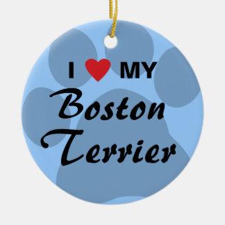 私は(ハート)ボストン私のテリアPawprintを愛します セラミックオーナメント