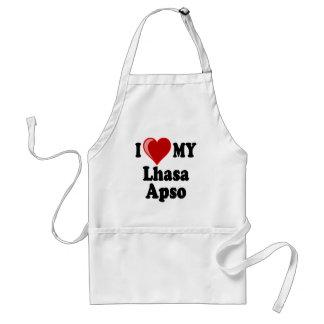私は(ハート)ラサ私のApso犬を愛します スタンダードエプロン