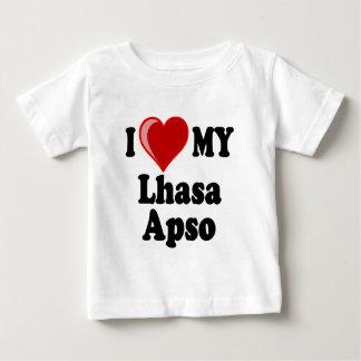 私は(ハート)ラサ私のApso犬を愛します ベビーTシャツ