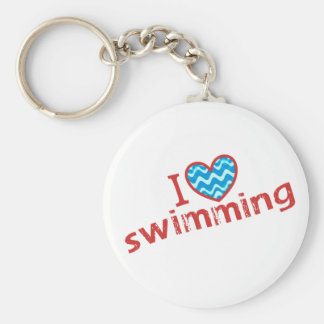 私は(ハート)水泳を愛します キーホルダー
