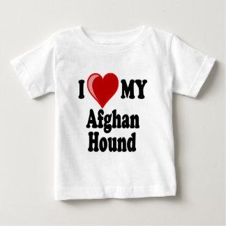 私は(ハート)私のアフガンハウンド犬を愛します ベビーTシャツ