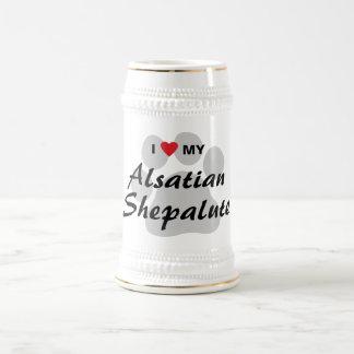私は(ハート)私のアルザスのShepaluteを愛します ビールジョッキ