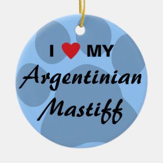 私は(ハート)私のアルゼンチンのマスティフを愛します セラミックオーナメント