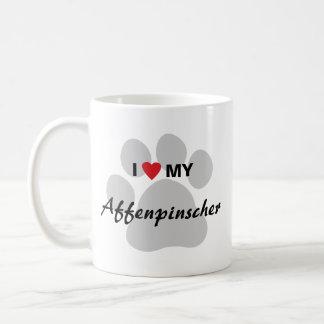 私は(ハート)私のアーフェンピンシャーの足のプリントを愛します コーヒーマグカップ