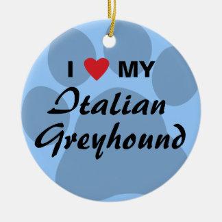 私は(ハート)私のイタリアン・グレーハウンドを愛します セラミックオーナメント