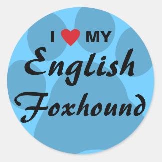 私は(ハート)私のイングリッシュ・フォックスハウンドを愛します ラウンドシール