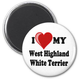 私は(ハート)私のウエスト・ハイランド・ホワイト・テリア犬を愛します マグネット