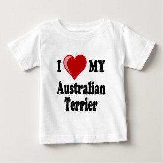 私は(ハート)私のオーストラリアンテリア犬を愛します ベビーTシャツ