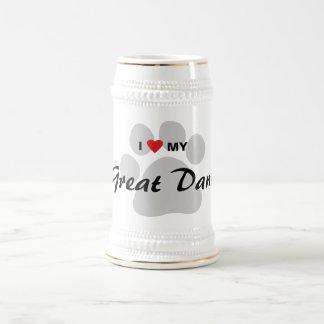 私は(ハート)私のグレートデーンPawprintを愛します ビールジョッキ