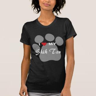 私は(ハート)私のシーズー(犬) Tzu Pawprintを愛します Tシャツ